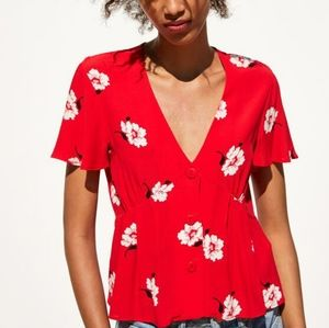 Zara V-neck Floral Printed Button Down Blouse